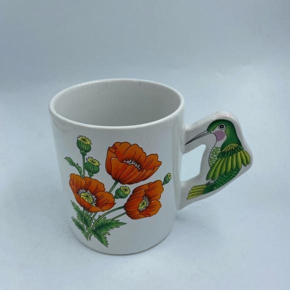 Vintage Hummingbird Handle Coffee Cup Poppies